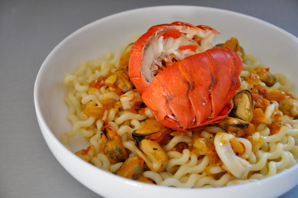 Lobster Tails and Seafood Pasta