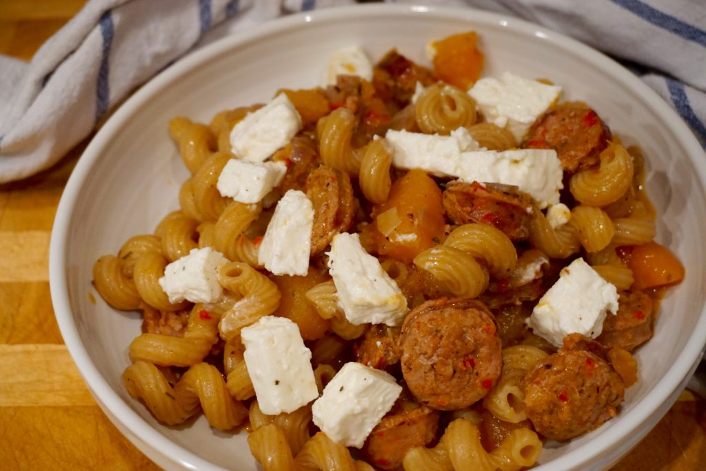 squash-sausage-and-feta-pasta-autumn-recipe