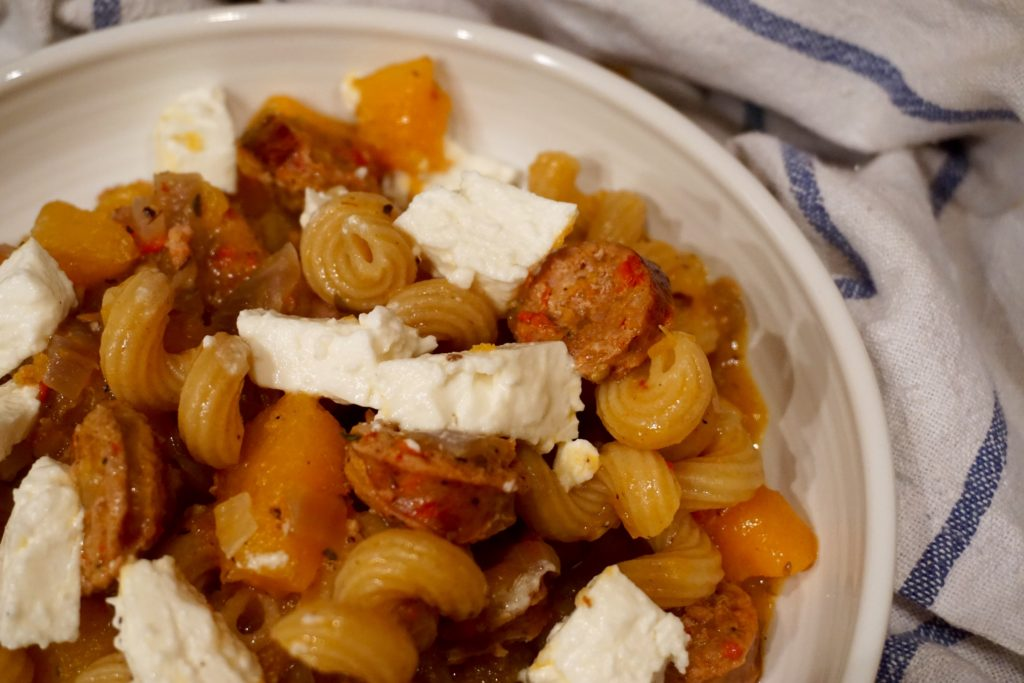 squash-sausage-and-feta-pasta-recipe