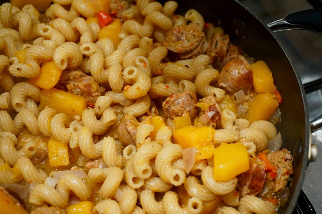 squash-sausage-and-feta-pasta-winter-warmer-recipe