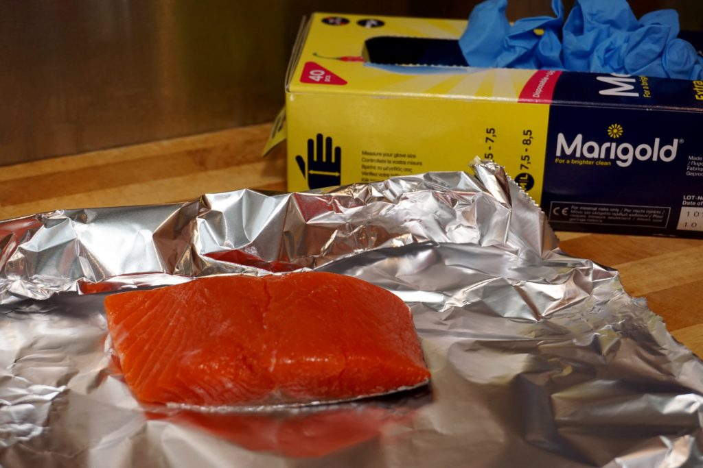 No Fuss Salmon Stir Fry wih Marigold Gloves
