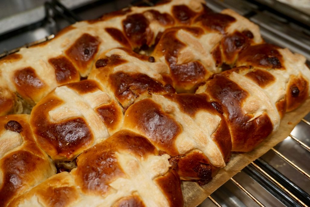 Salted Caramel Hot Cross Buns