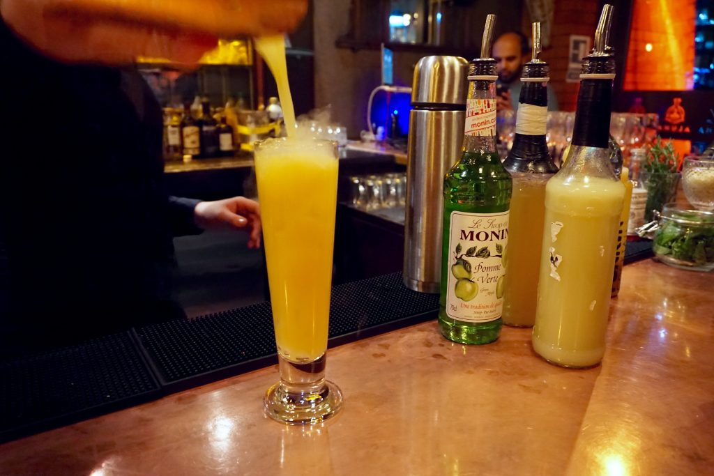 Aluna Cocktail Making - Lava Lamp Cocktail in a Tall Glass with Dry Ice Smoke