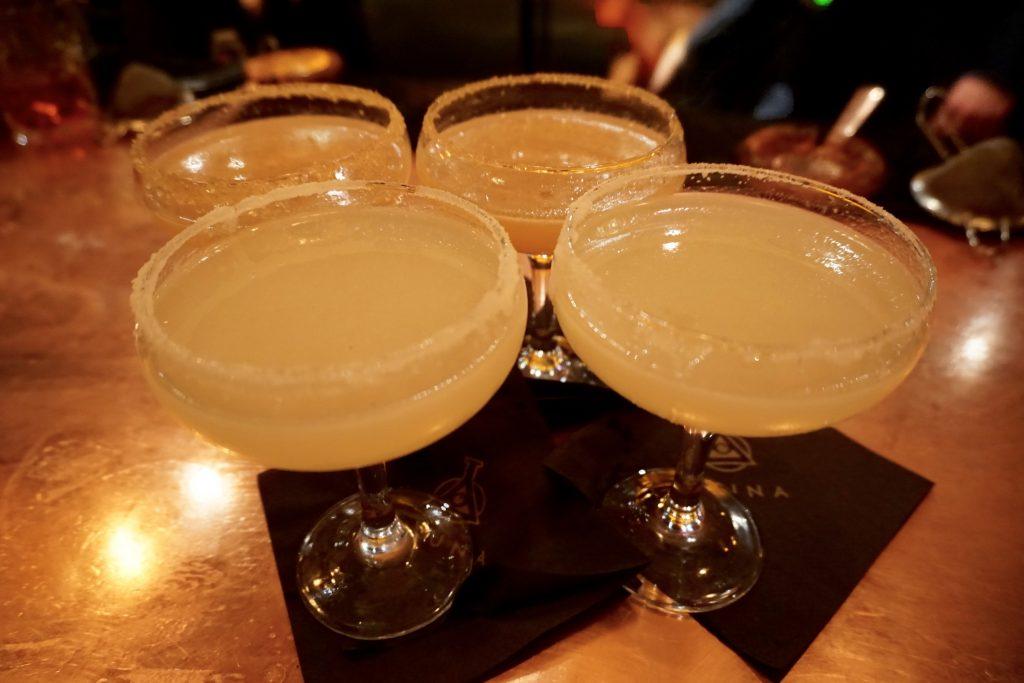 Aluna Cocktail Making - Side Car and Margarita Cocktails in Glasses