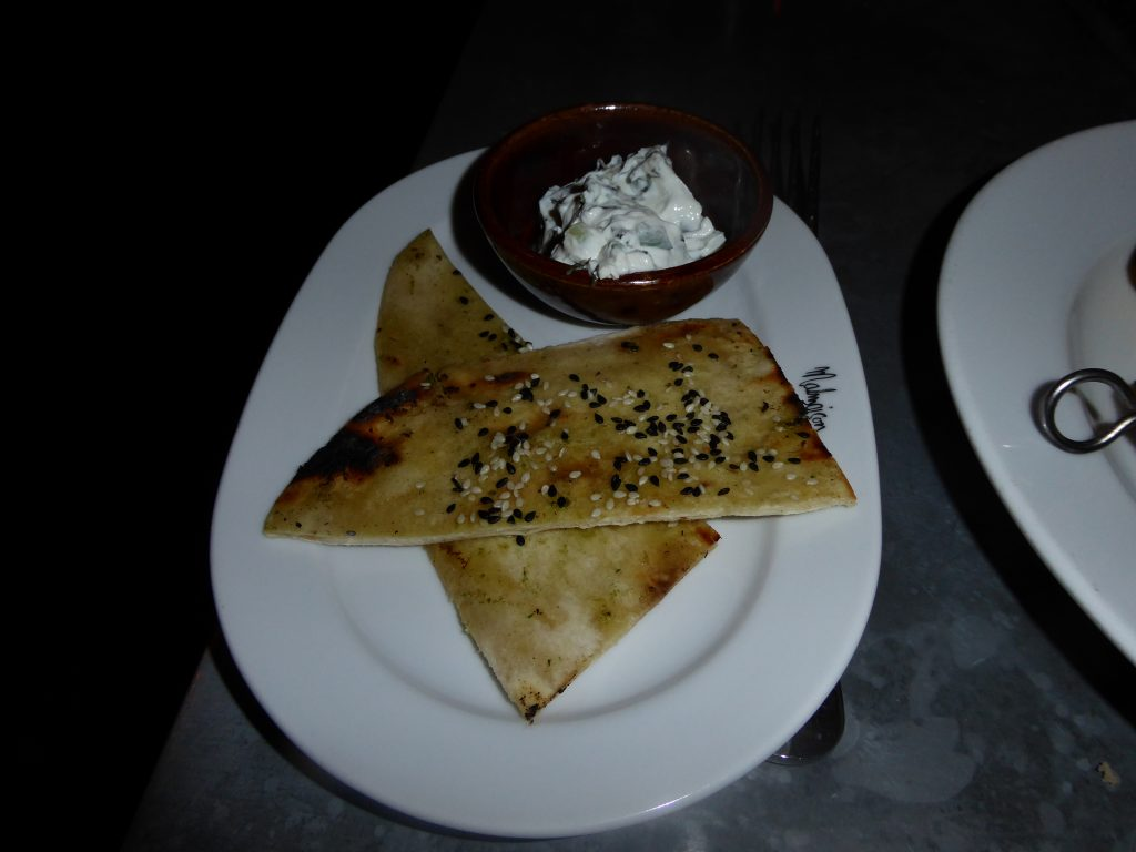 Chez Mal Malmaison Manchester Flat Bread with Cucumber Dip for Chicken Tikka Skewer
