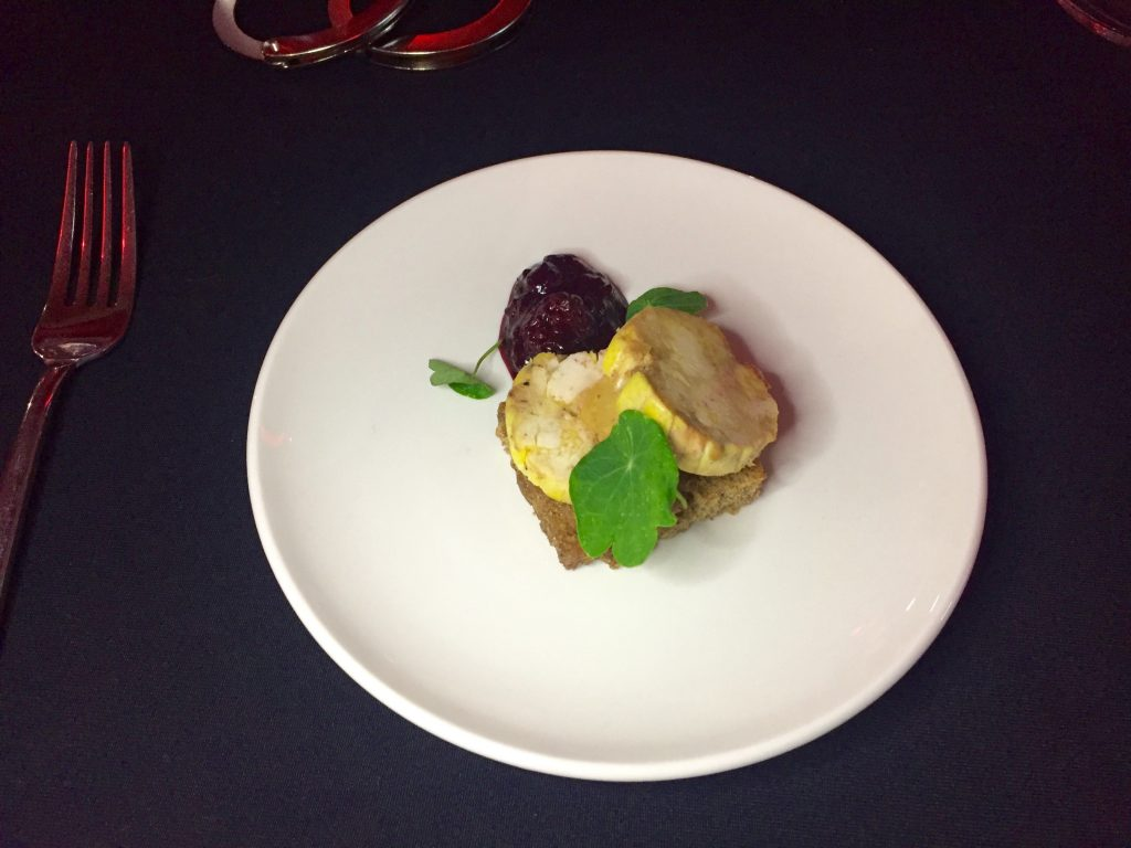 Foie gras and chicken presse served with a blackberry and gin chutney