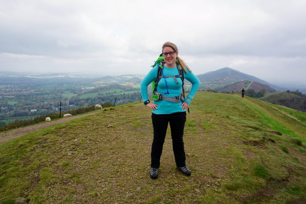 Miss Pond in Sno Queen Turquoise Thermals on the Malvern Hills