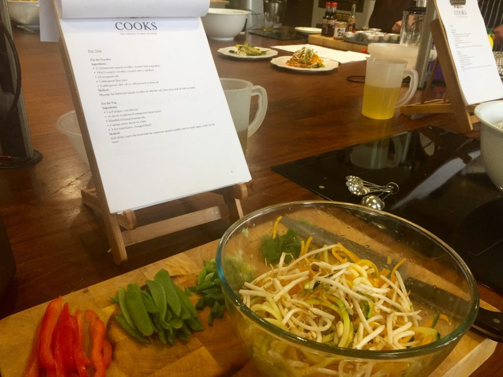 Raw Vegetables for Pad Thai in A Bowl - Carlton Towers - Cooks Course