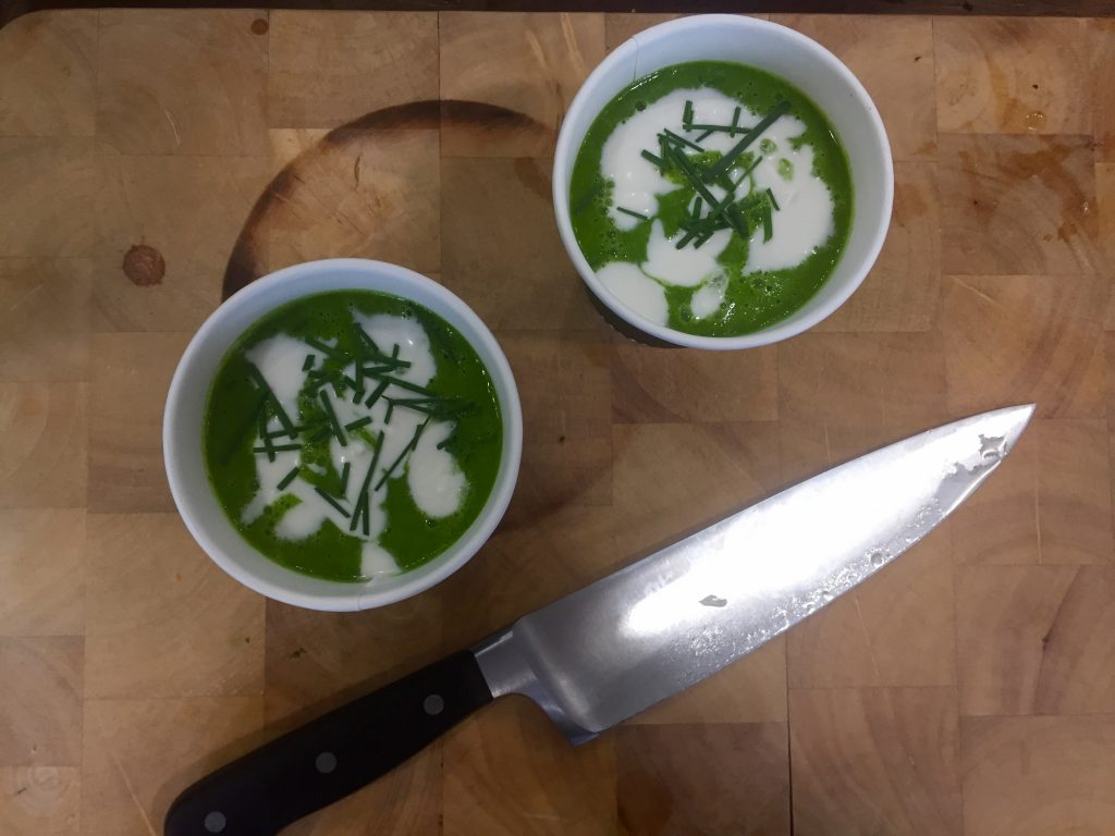 Spinach and Avocado Soup on Table Top - Carltin Towers - Cooks Course