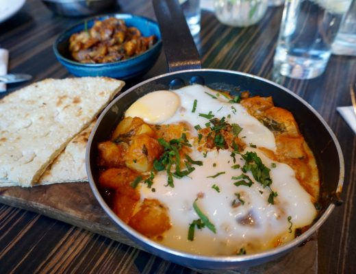 Zouk Brunch - Bombay Baked Eggs in Small Frying Pan Served on Board