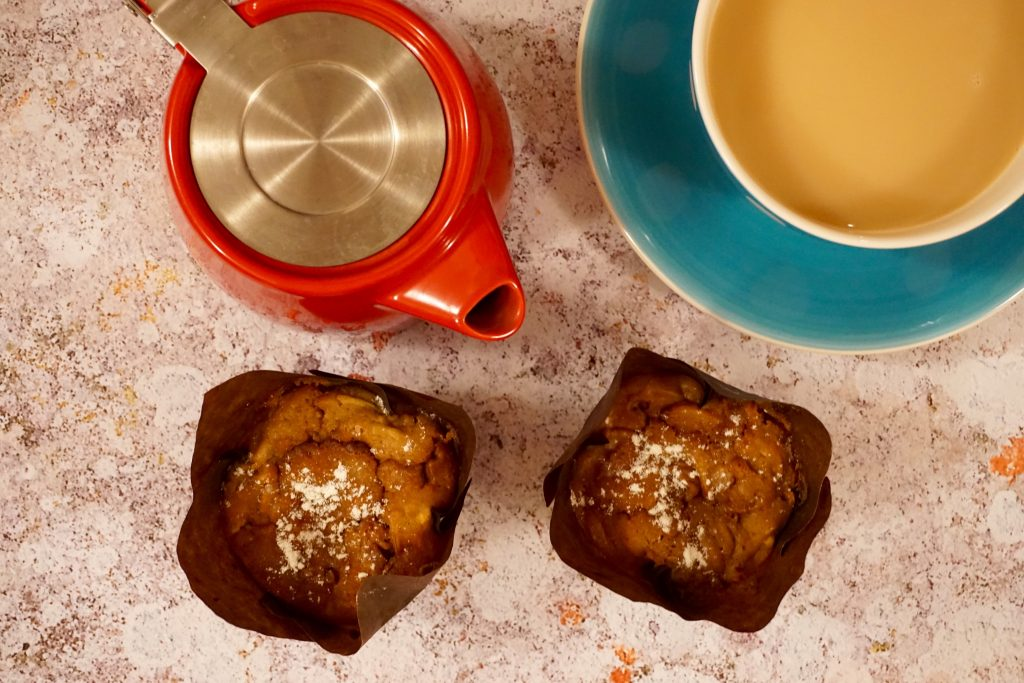 Toffee Apple Muffins with Tea Pot and Tea