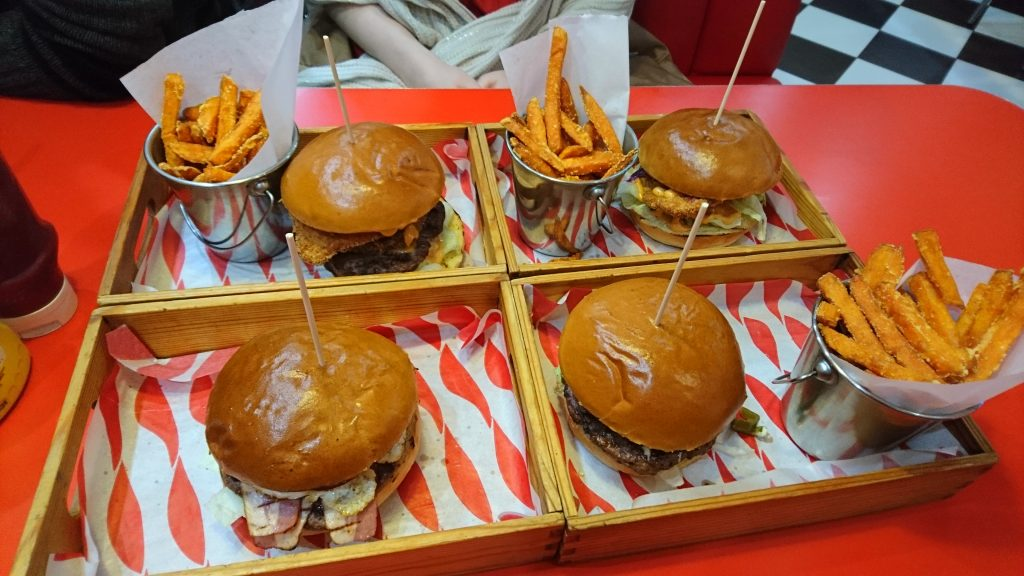 Burgers in Trays at Grand Daddy's Diner Manchester