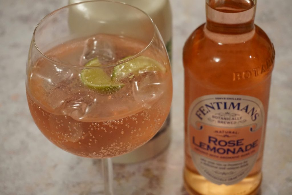 Close up of Fentimans Rose Lemonade and Rock Rose Gin - Ginuary