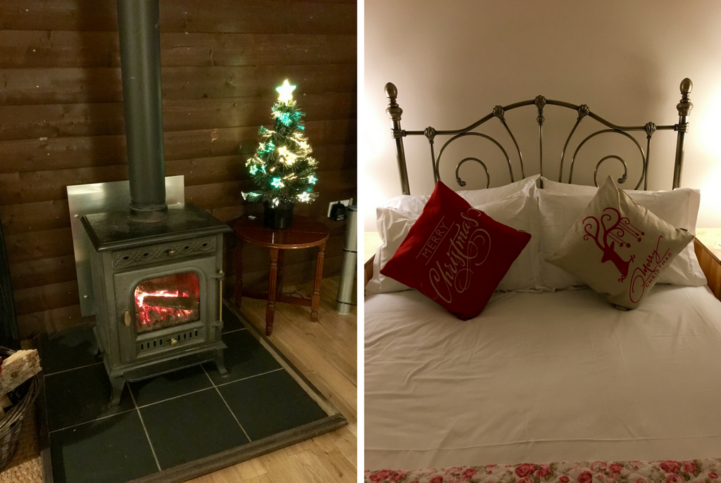Collage of Log Burner and Made Bed - Rainy Holiday in Scotland