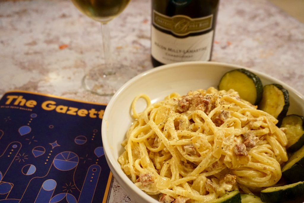 Creamy Pancetta Linguine in a Bowl with Chardonnay