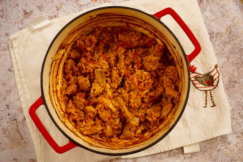 Rick Stein Aromatic Chicken Pilau in a Cast Iron Pan