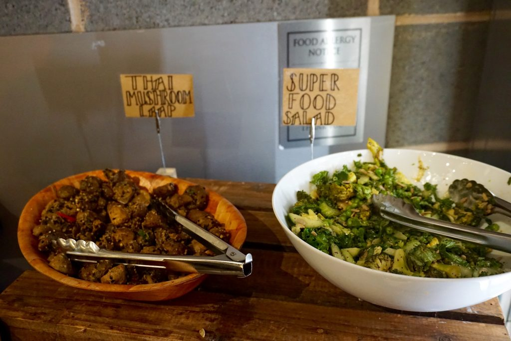 Salad and Mushrooms on Display Natural Healthy Foods