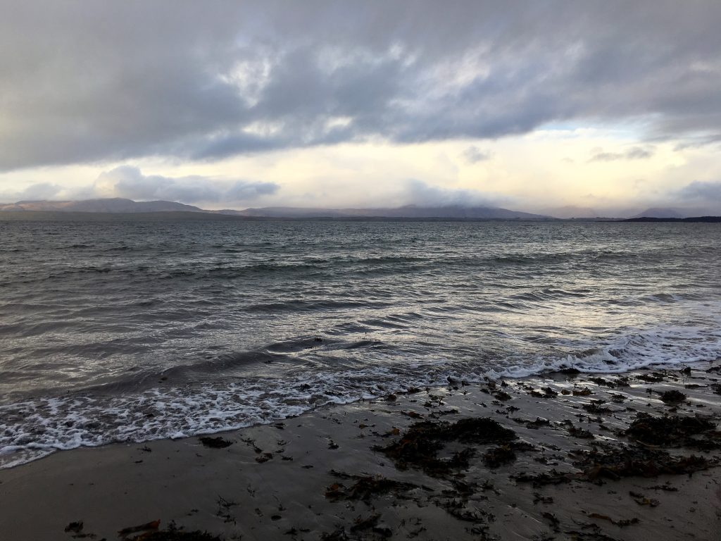 View to Mull from Ganavan Sands Oban - Rainy Holiday in Scotland
