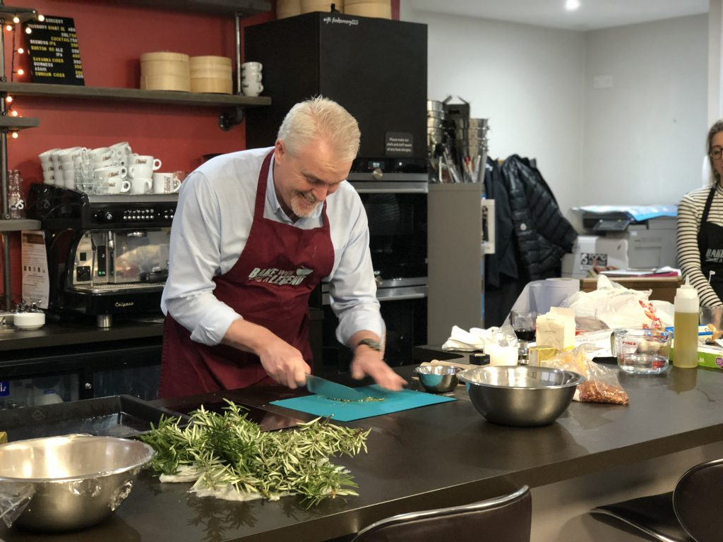 Bake with a Legend - Paul Jagger Bread Masterclass cutting rosemary