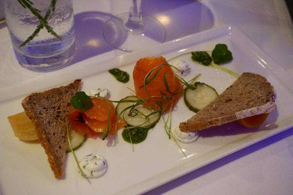 Birmingham-Malmaison-Edinburgh-Gin-Elderflower-Gin-Cured-Salmon-Starter