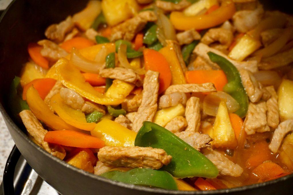 Faitrade-Fortnight-Pork-Pineapple-Stir-Fry-In-Pan