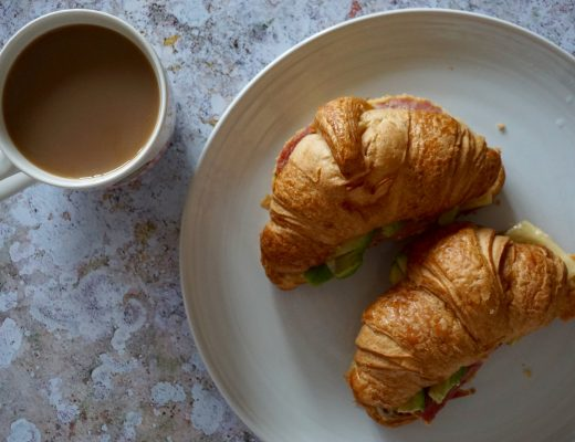 Brunch-Filled-Croissant-Ham-Cheese-Avo-with-Cup-of-Coffee
