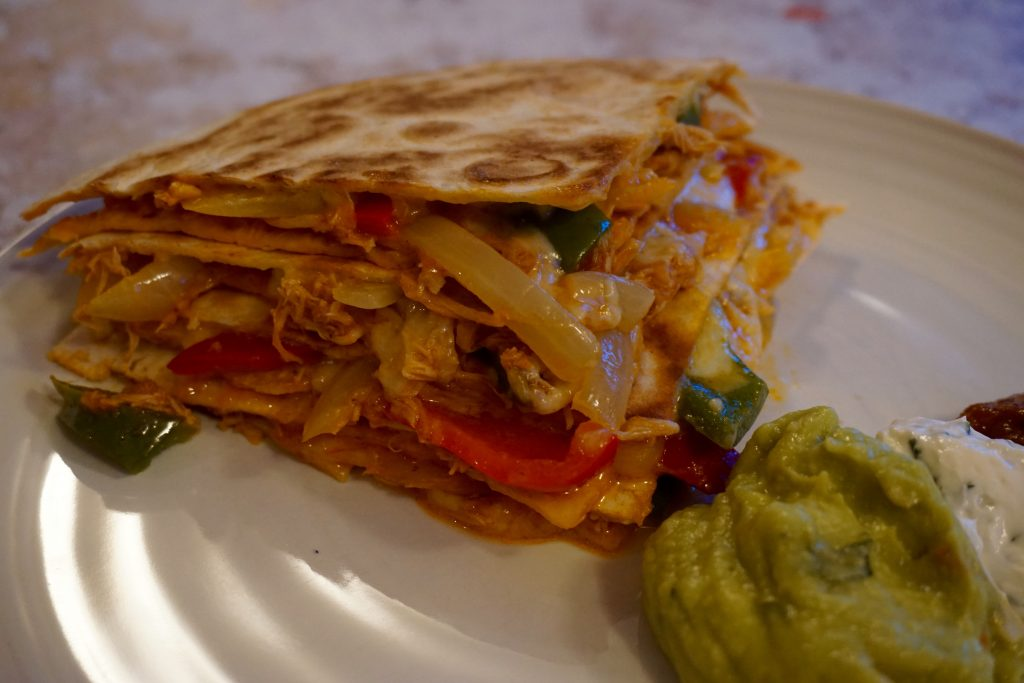 Mexican-Monday-Pulled-Chicken-Quesadilla-Close-Up-On-Plate
