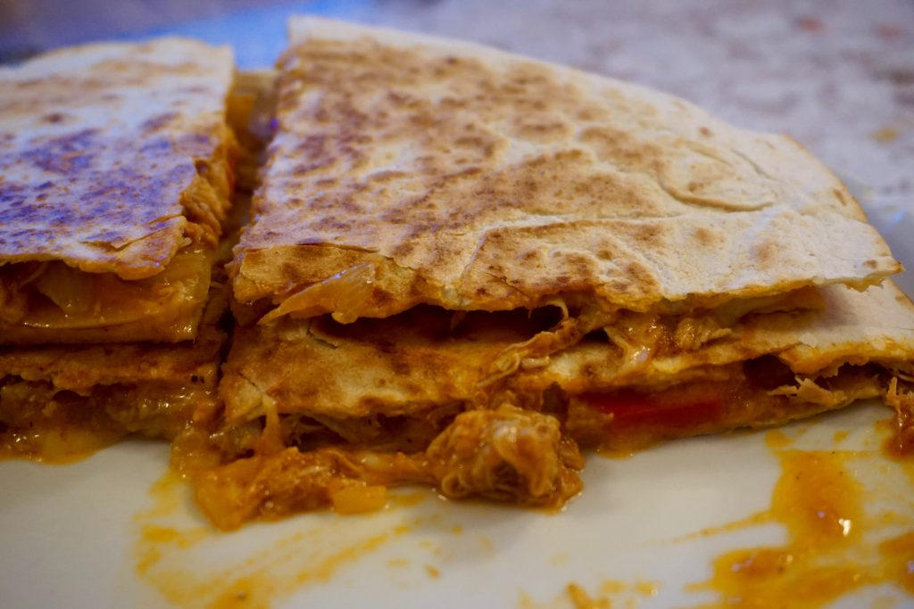 Mexican-Monday-Pulled-Chicken-Quesadilla-Up-Closer-Gooey-Cheese