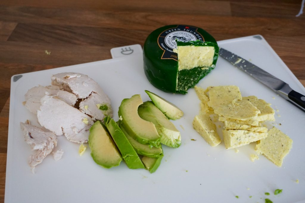 Chicken-Avocado-Snowdonia-Cheese-with-garlic-and-Herbs-ingredients-for-sandwich