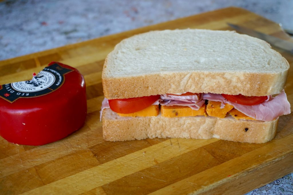 Snowdonia Red Devil Cheese, Ham and Tomato Sandwich
