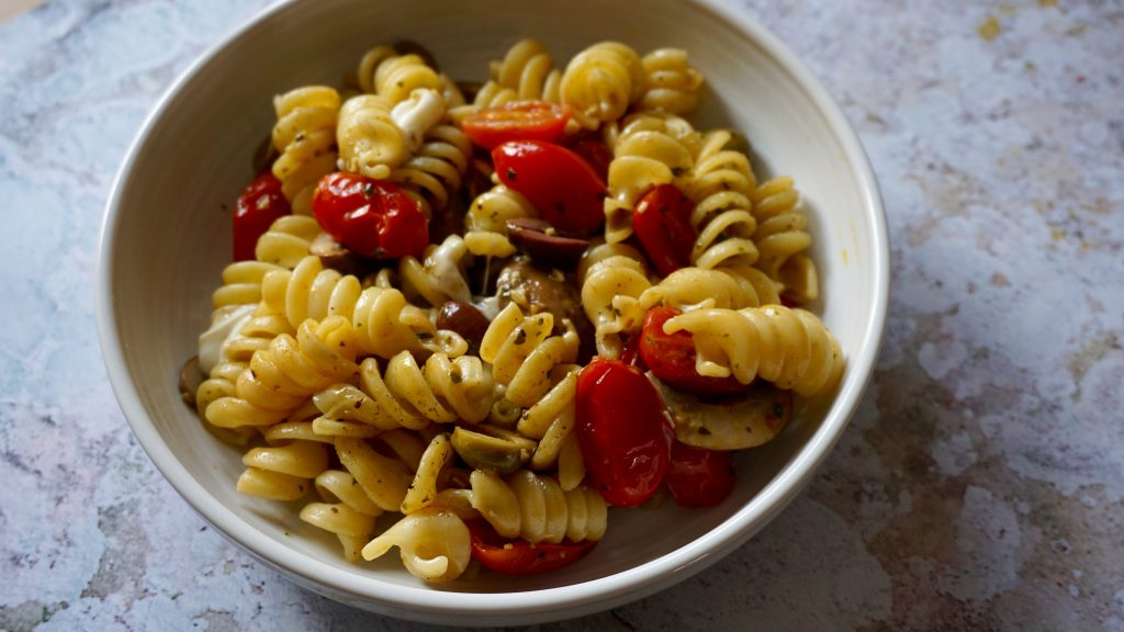 Mozzarella Olives and Tomatoes Pasta in a Bowl