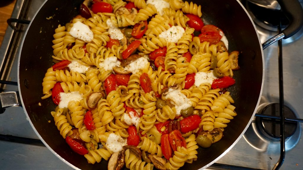 Mozzarella Olives and Tomatoes Pasta in a Pan