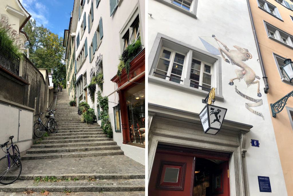 2-pictures-streets-of-Zurich-old-town-to-Lindenhof