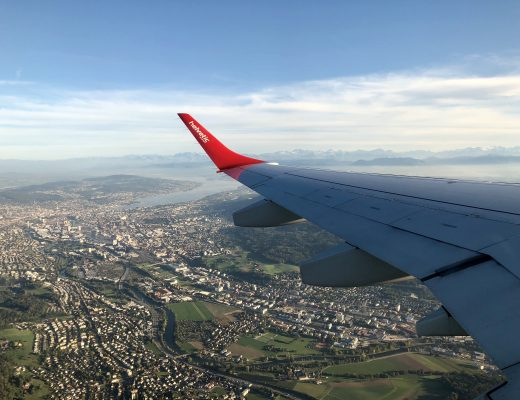 5 Happy Things - Swiss Airways Wing Tip with Alps Behind