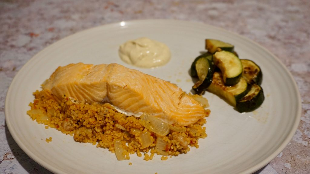 trout-cous-cous-brown-shrimp-plated-with-courgette