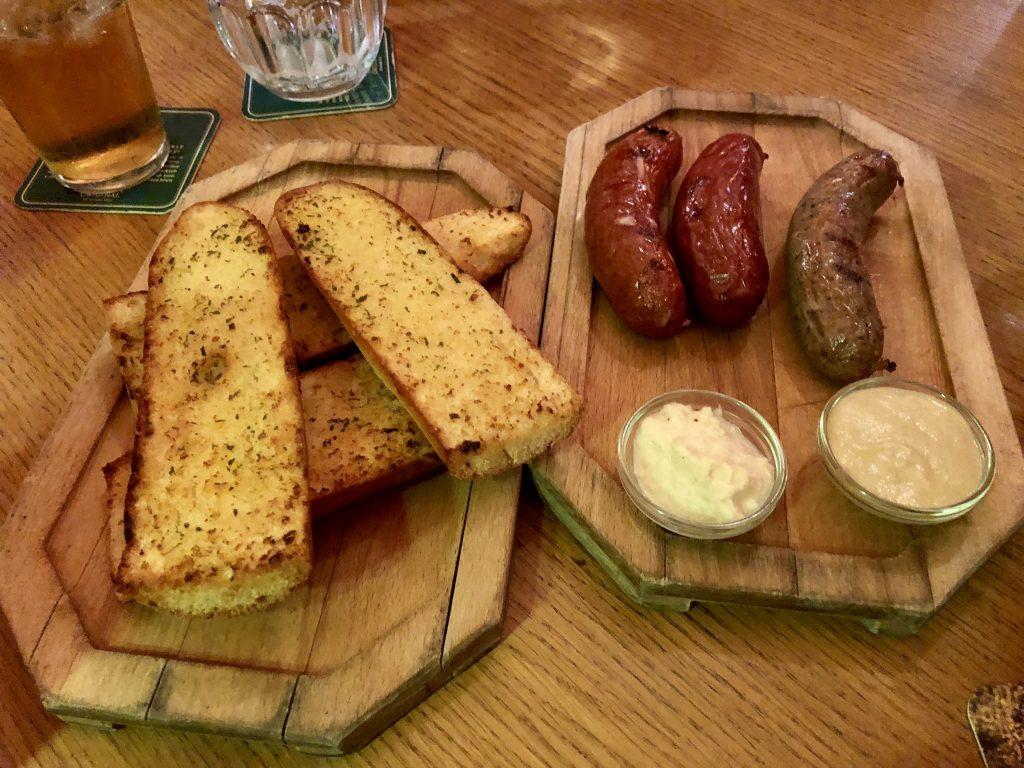 Restaurant Vkolkovne Garlic Bread and Sausage
