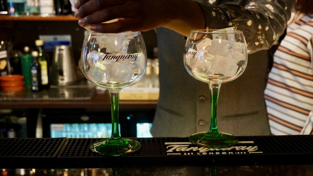 Two-Tanqueray-Glasses-Filled-with-Ice-Simpsons-Gin-Bar