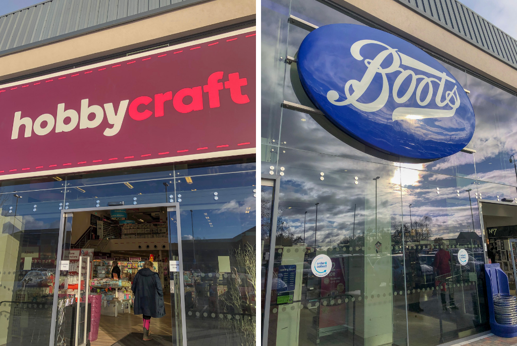 Hobbycraft-and-Boots-Shopfronts-Gallagher-Shopping-Park
