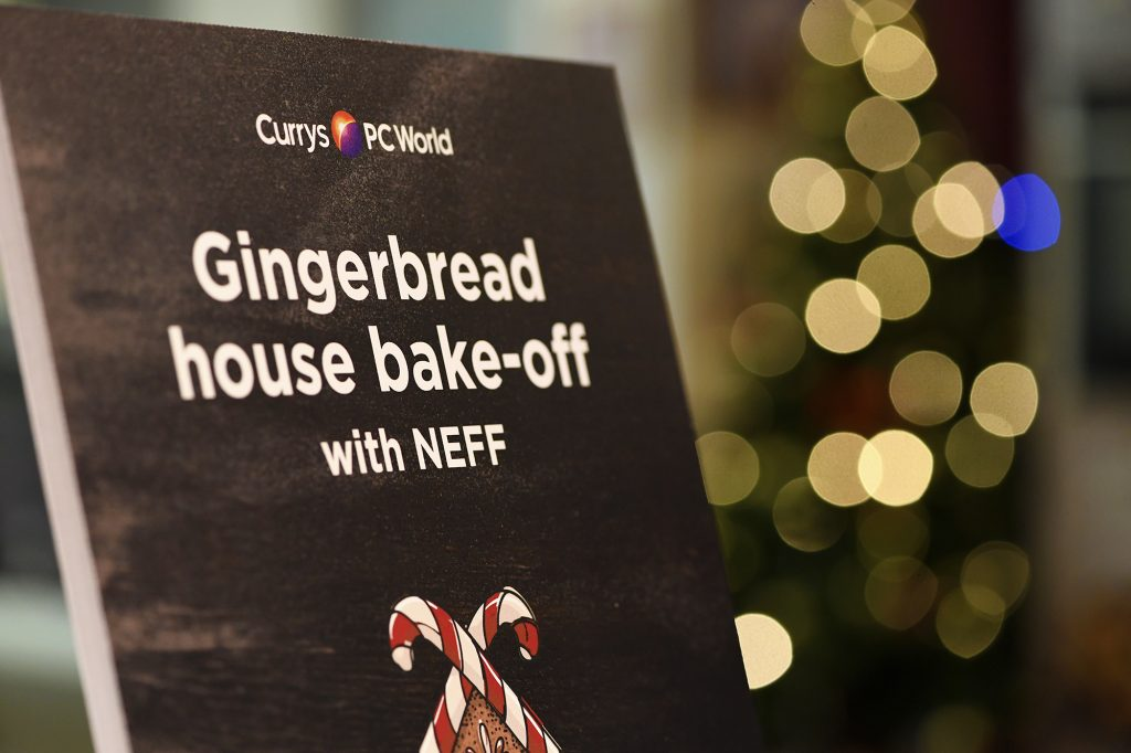NEFF-and-currys-PC-world-Gingerbread-House-Event-sign