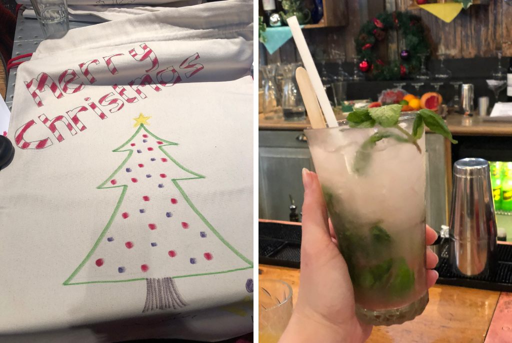 Santa-sack-designing-and-cocktail-making-with-Moonpig