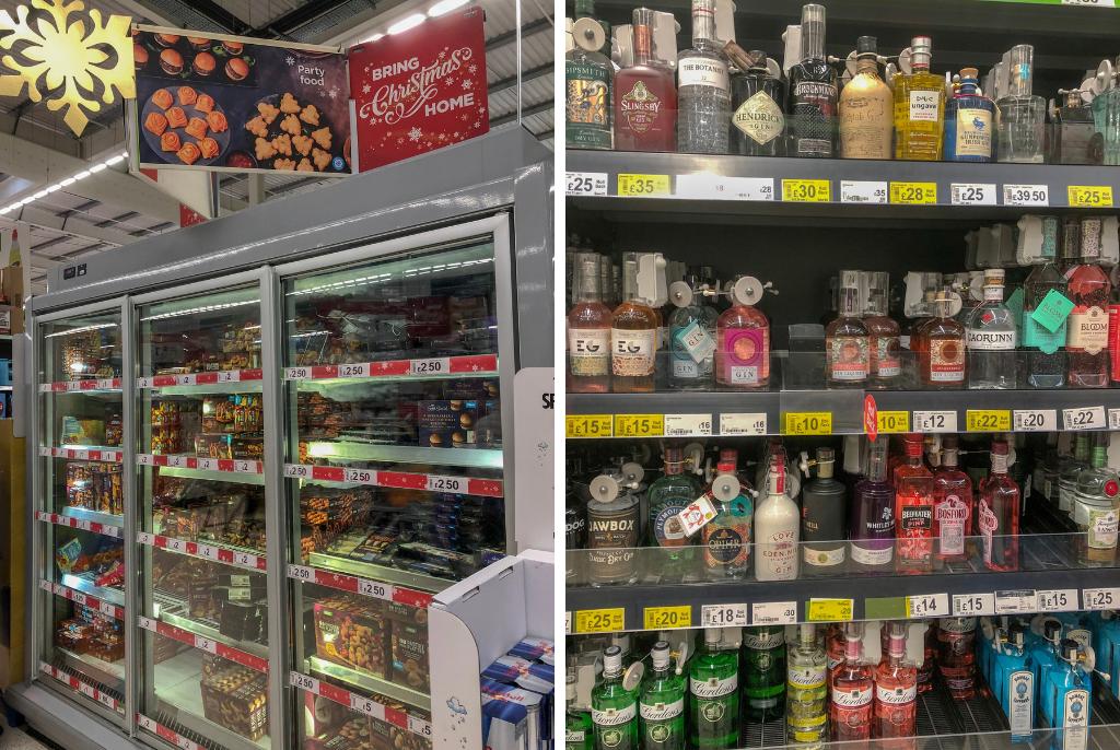 Shelves-at-asda-Christmas-food-and-gin